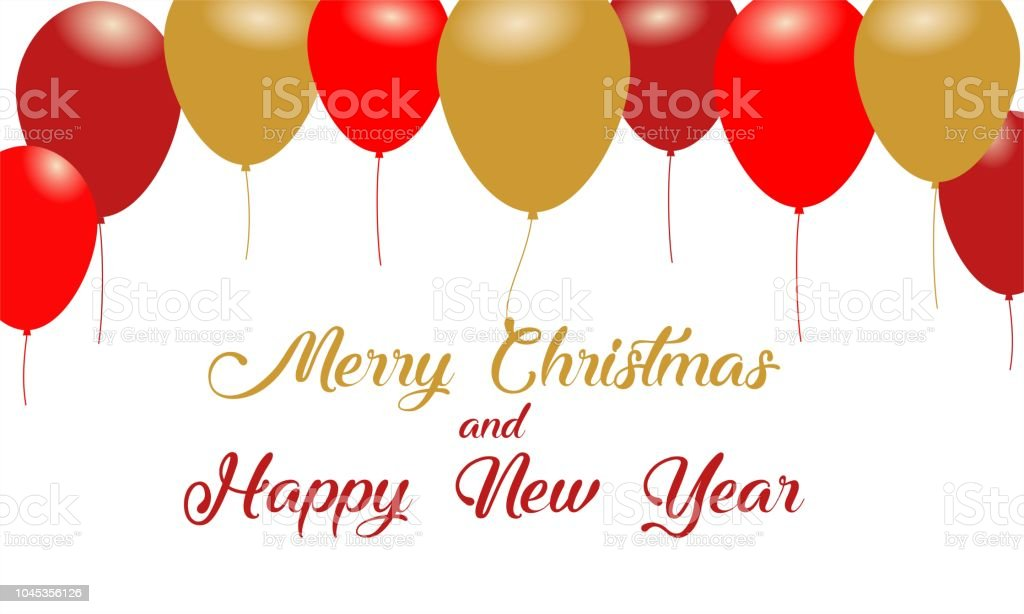 merry christmas and happy new year message design background with balloons royalty free merry