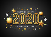2020 Merry christmas and Happy New Year message gold and white banner design on black background, vector illustration