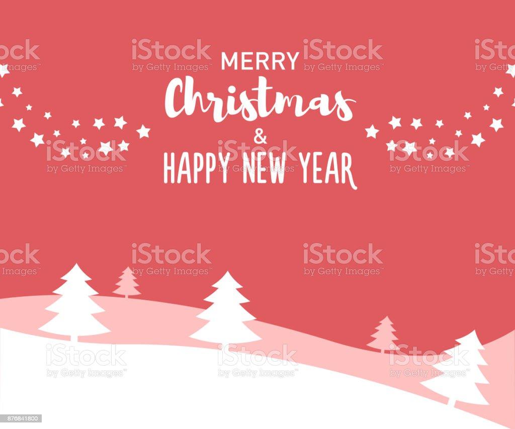 Joyeux Noël Et Bonne Message De Nouvel An Avec Différentes Polices De Caractères Sur Un Paysage Dhiver Plat De Vecteur De Lart Avec Des étoiles