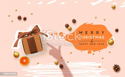 Merry Christmas and happy new year. milky pink background with realistic gift box, foil chocolates candies, Xams present indicates female hand shadow. Advertising banner, web poster, brochure cover