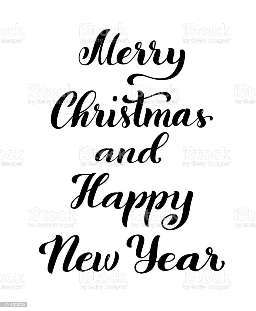 Christmas Calligraphy.Merry Christmas And Happy New Year Modern Calligraphy Quote With Handdrawn Lettering Vector Illustration Stock Illustration Download Image Now