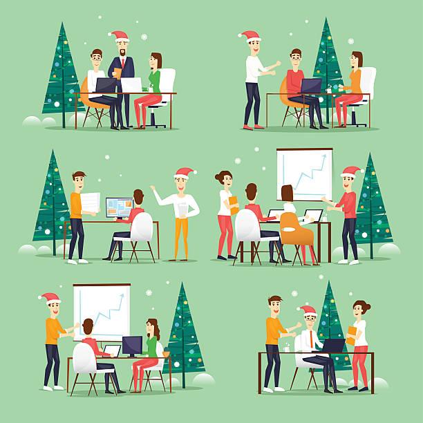 merry christmas and happy new year office. - firmenweihnachtsfeier stock-grafiken, -clipart, -cartoons und -symbole