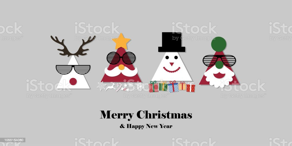 merry christmas and happy new year on grey background greeting card of cartoon element xmas