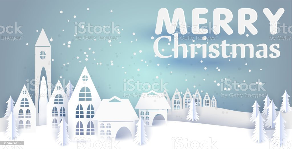 merry christmas and happy new year paper greeting card with winter houses winter paper landscape