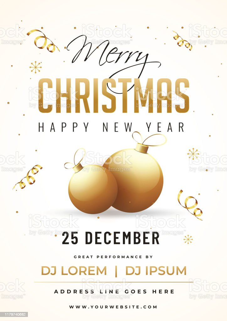 merry christmas and happy new year party invitation card design with golden baubles and event details on white background stock illustration download image now istock merry christmas and happy new year party invitation card design with golden baubles and event details on white background stock illustration download image now istock
