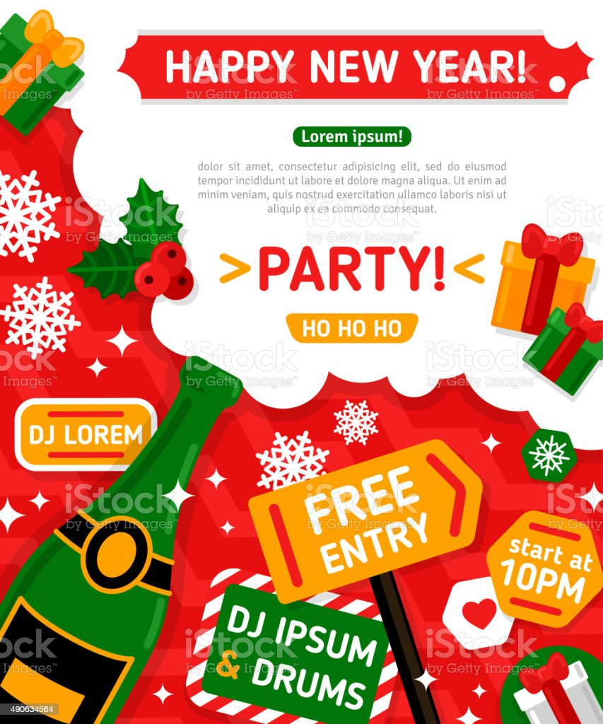 Merry Christmas And Happy New Year Party Invitation Card Stock ...
