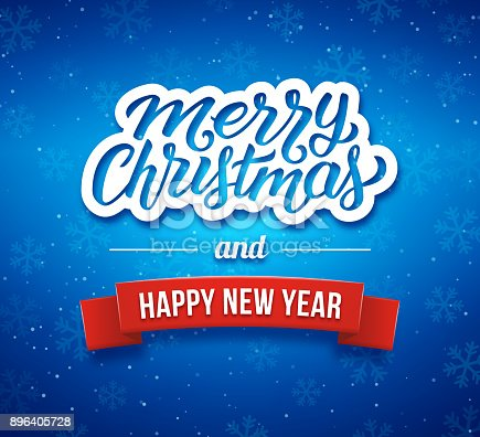 merry christmas and happy new year phrase on blue blurred background with bokeh lights from snow and 3d red ribbon premium vector illustration with