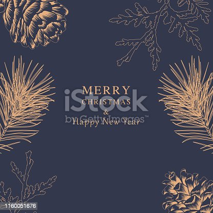 Merry Christmas and Happy New Year - Pine Cone Greeting Card, Premium Navy Background and golden botanical sketch.
