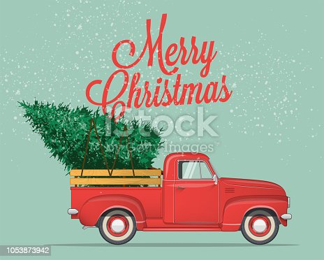istock Merry Christmas and Happy New Year Postcard or Poster or Flyer template with  pickup truck with christmas tree. Vintage styled vector illustration. 1053873942