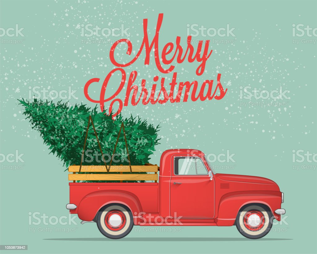 Merry Christmas and Happy New Year Postcard or Poster or Flyer template with  pickup truck with christmas tree. Vintage styled vector illustration. vector art illustration