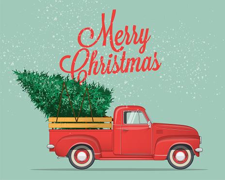 메리 크리스마스와 행복 한 새 해 엽서 또는 크리스마스 트리를 픽업 트럭 포스터 또는 전단지 서식 파일 빈티지 스타일 벡터 일러스트 레이 션 겨울에 대한 스톡 벡터 아트 및 기타 이미지