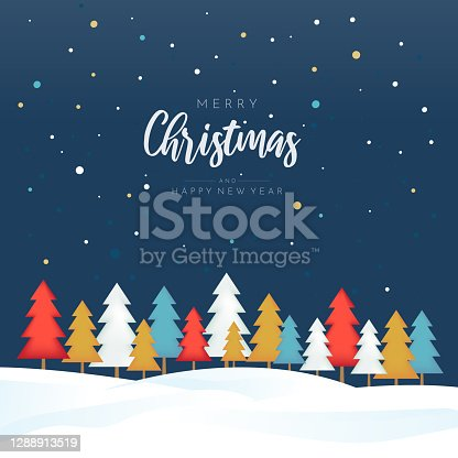 istock Merry Christmas and Happy New Year poster with colorful trees. Vector 1288913519