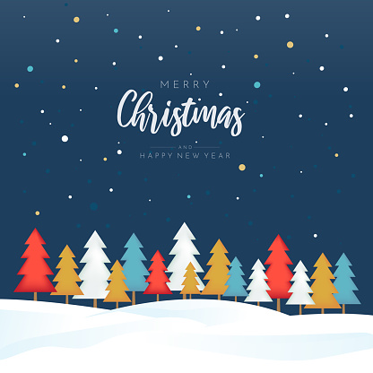 Merry Christmas and Happy New Year poster with colorful trees. Vector