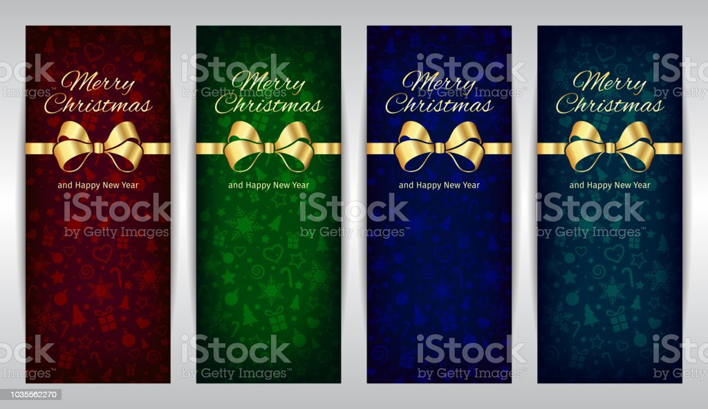 merry christmas and happy new year red green blue set of vertical vector banners dark
