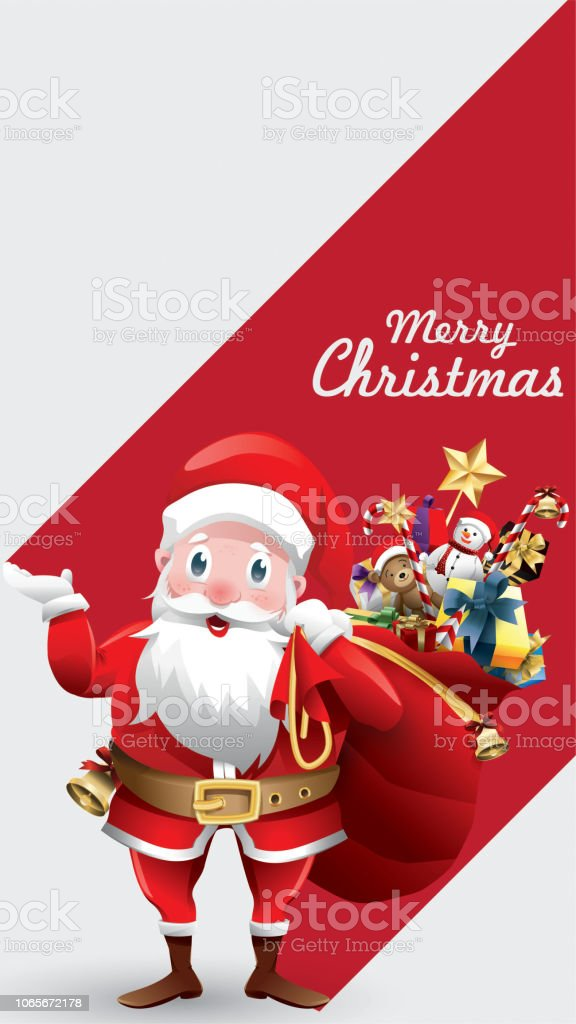 merry christmas and happy new year red xmas cartoon santa claus with huge red bag with
