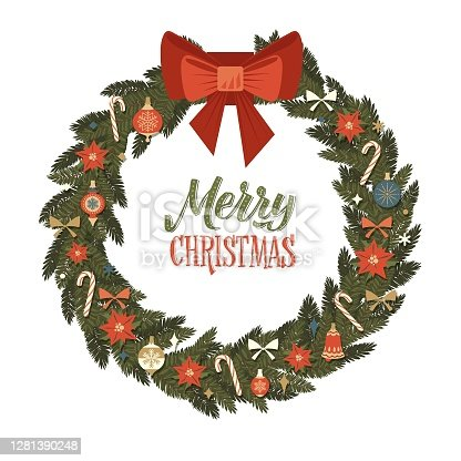 istock Merry Christmas and Happy New Year Retro Wreath. Christmas Balls and Bow Vector Illustration. Dark Background 1281390248