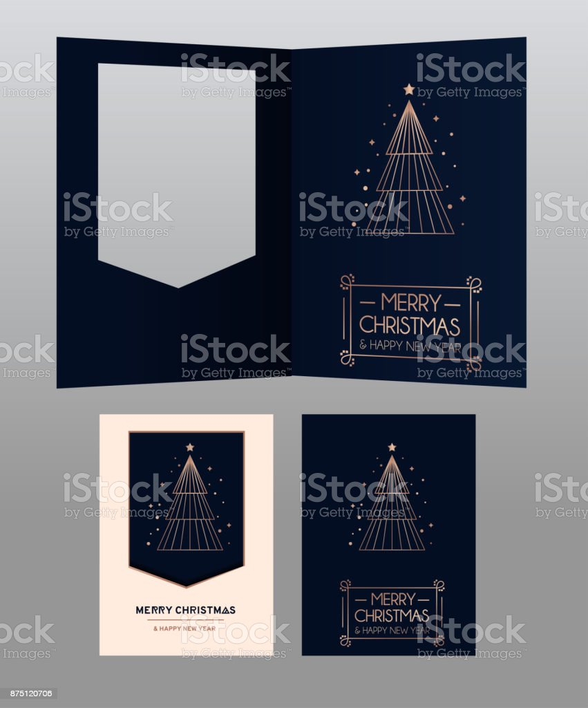 merry christmas and happy new year rose gold greeting card minimalistic christmas card on navy