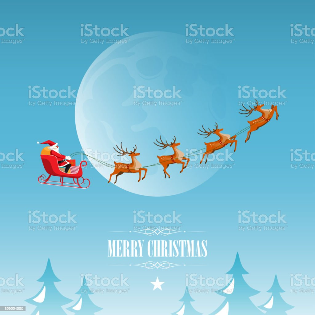 Merry Christmas and Happy New Year, Santa Claus coming vector art illustration