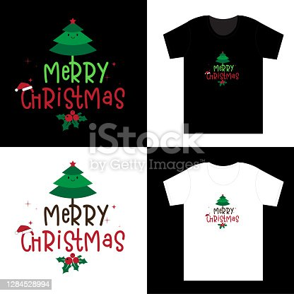 istock Merry Christmas and Happy New Year. Santa Tree Gnomes  lettering quotedesign. For t-shirt, greeting card or poster design Background Vector Illustration. 1284528994
