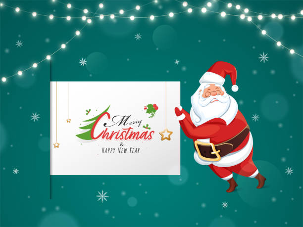 Merry Christmas And Happy New Year Scroll Template With Cartoon Santa Claus Character On Teal Background Decorated Lighting Garland. vector art illustration