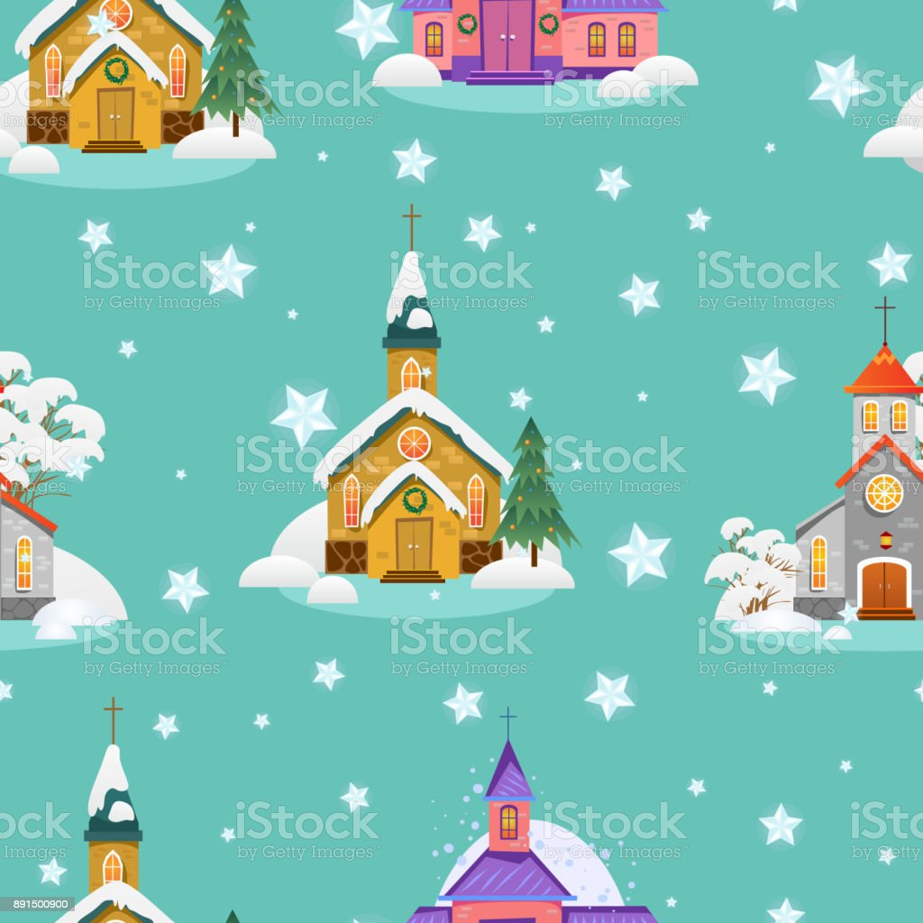 merry christmas and happy new year seamless pattern church and green tree under snow