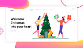 Merry Christmas and Happy New Year Season Greeting Website Landing Page. Women Decorate Christmas Tree and Presenting Gifts on Xmas Corporate Party Web Page Banner. Cartoon Flat Vector Illustration