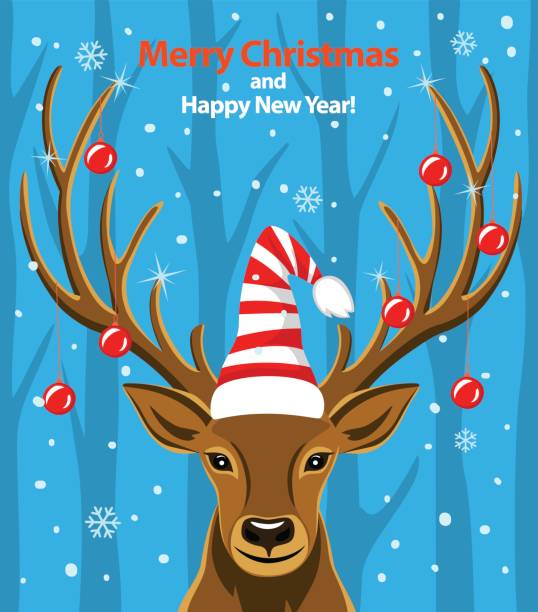Merry Christmas and Happy New Year seasonal winter greeting card with deer vector art illustration