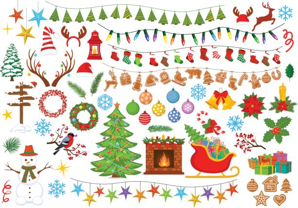 Merry Christmas and Happy New Year, seasonal, winter xmas decoration items objects Merry Christmas and Happy New Year, seasonal, winter xmas decoration items objects elements  design set collection including christmas tree, santa sleigh with presents, fireplace with wreaths and candles, garlands with lights, socks and stars christmas decoration stock illustrations