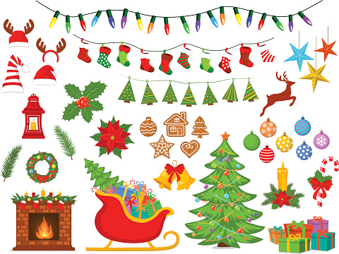 Merry Christmas and Happy New Year, seasonal, winter xmas decoration items