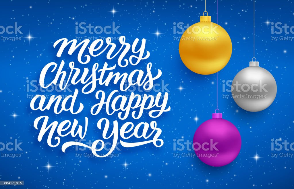merry christmas and happy new year seasons greetings text on blue background with sparkles and colorful