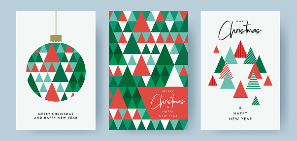 Merry Christmas and Happy New Year Set of greeting cards, posters, holiday covers. Modern Xmas design with triangle firs pattern in green, red, white colors