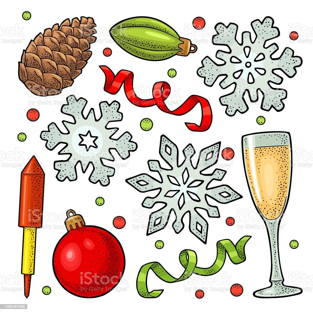 Vetores De Feliz Natal E Feliz Ano Novo Conjunto Gravura De