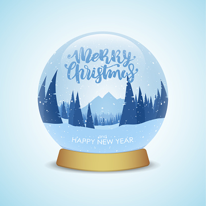 Merry Christmas and Happy New Year. Snow globe with winter mountains landscape isolated on light blue background.