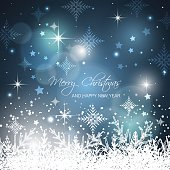 Merry Christmas and Happy New Year snowflakes background.