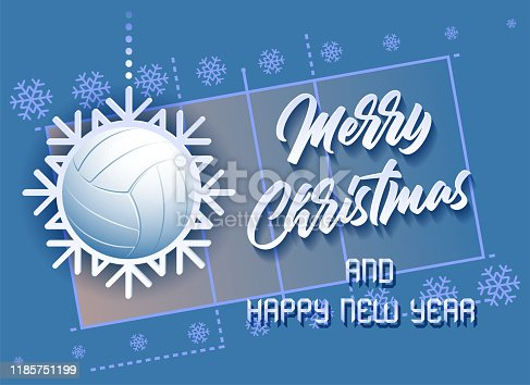 Merry Christmas and Happy New Year. Sports card with a Volleyball ball as a Snowflake and a Volleyball Court. Vector illustration.
