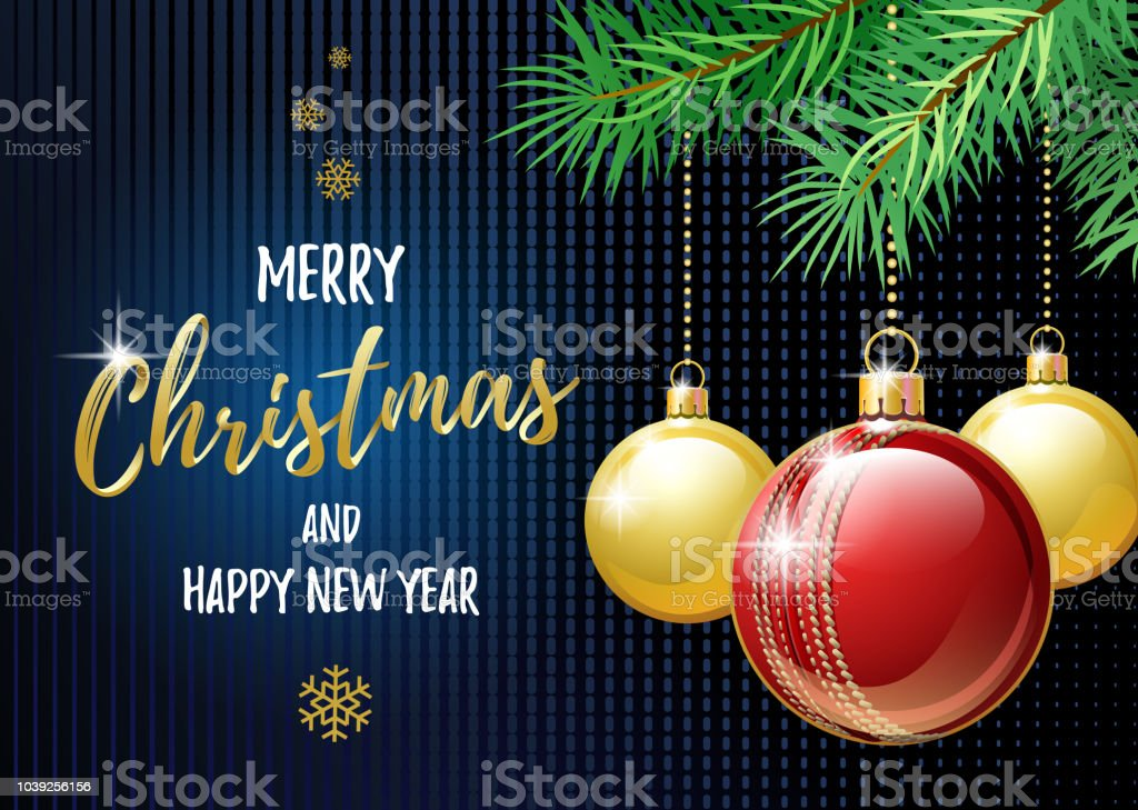 Merry Christmas And Happy New Year Sports Greeting Card Cricket