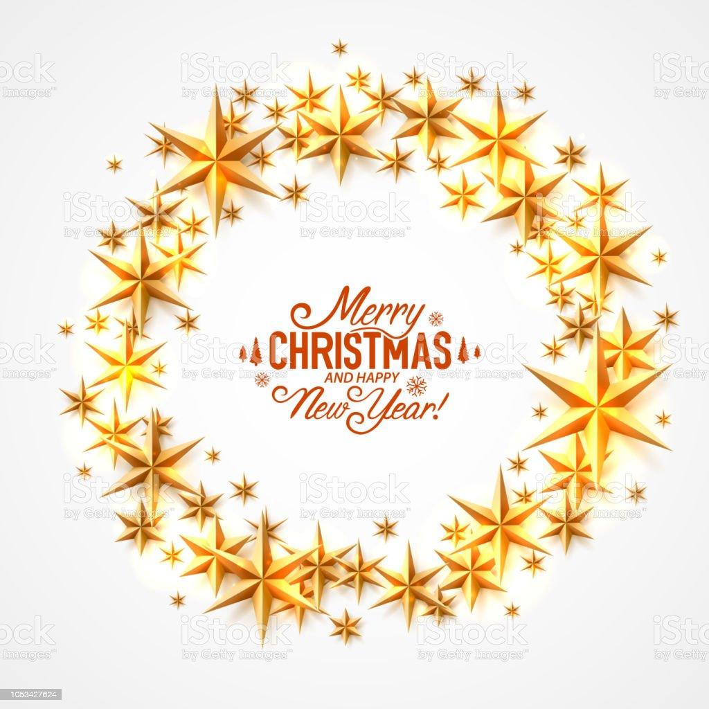 Frohe Weihnachten Und Ein Glückliches Neues Jahr Sterne Kreis Stock ...