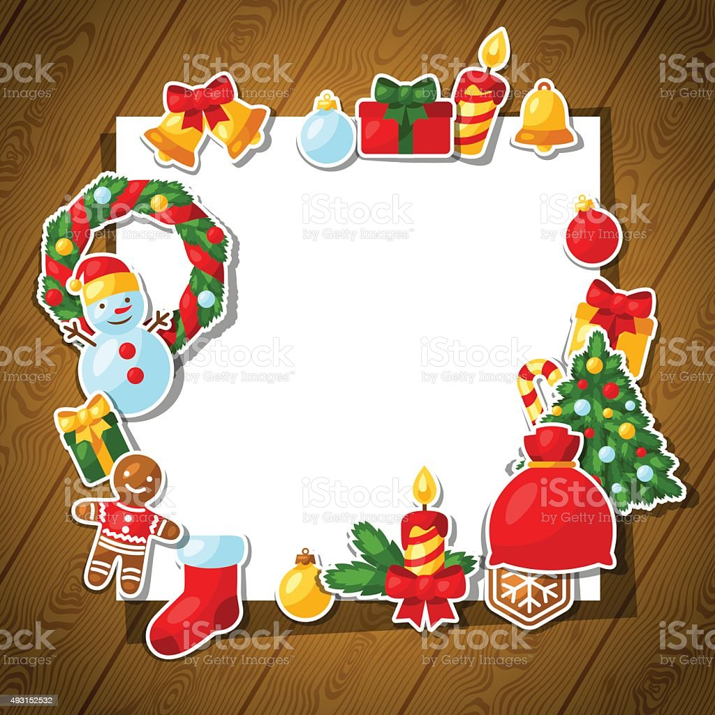 Adesivi Buon Natale.Buon Natale E Felice Anno Nuovo Modello Per Invito Adesivo
