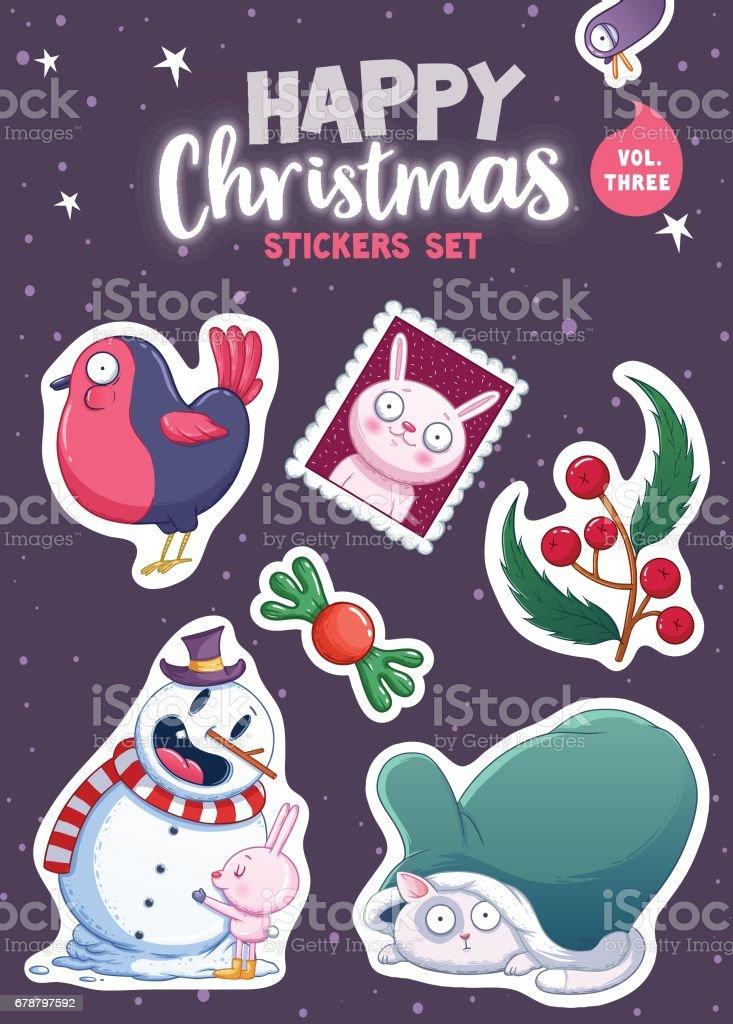 Merry Christmas and Happy New Year autocollants ou aimants merry christmas and happy new year autocollants ou aimants – cliparts vectoriels et plus d'images de aimant libre de droits