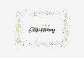 Merry Christmas and Happy New Year strewn with bright sparkles confetti, handwritten calligraphy text. Xmas holiday frame