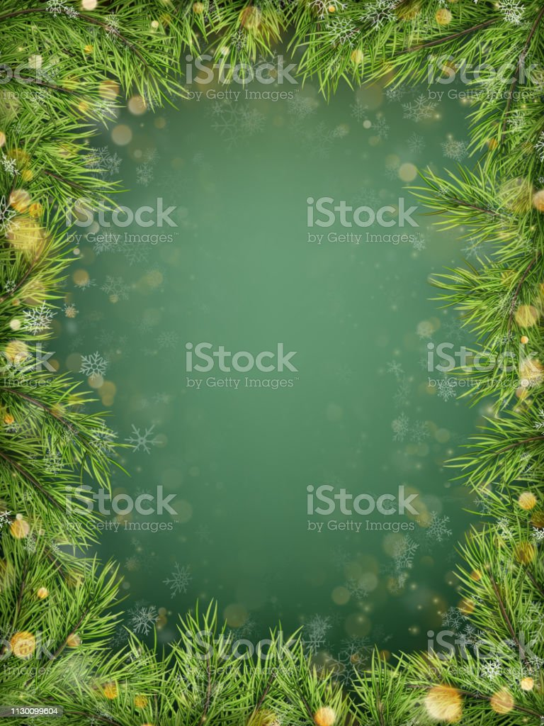 Merry Christmas And Happy New Year Template With Holiday Fir Tree