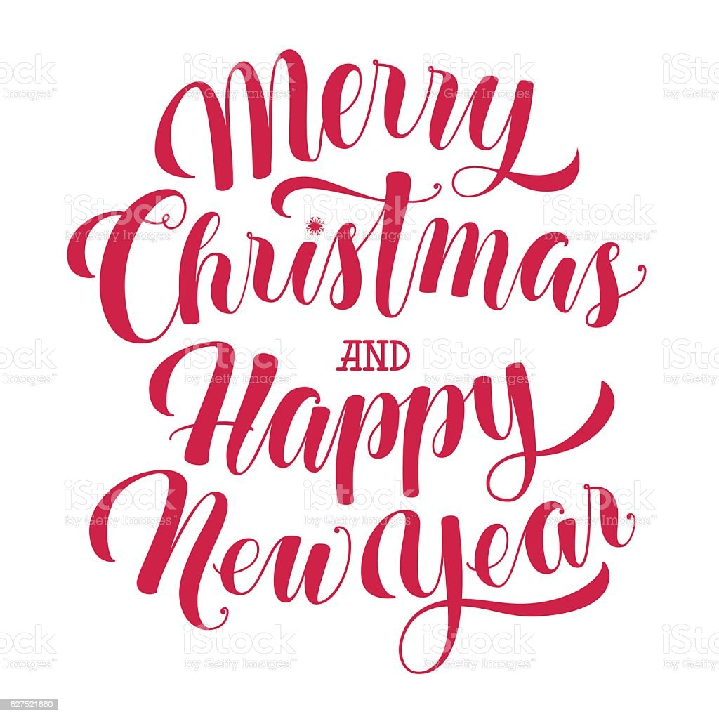 Merry Christmas And Happy New Year Text Calligraphic Vector Illustration Stock Illustration ...