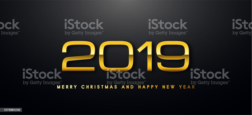 Merry Christmas and Happy New Year text design. Vector greeting...