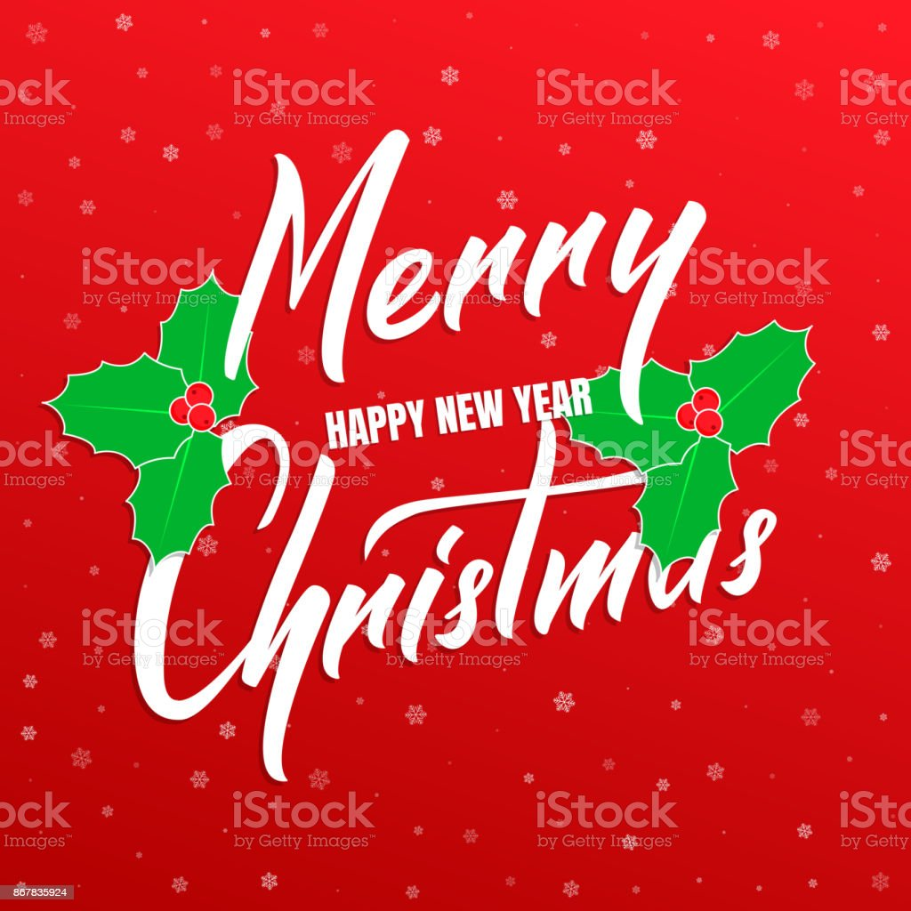 merry christmas and happy new year text lettering design christmas and new year card with