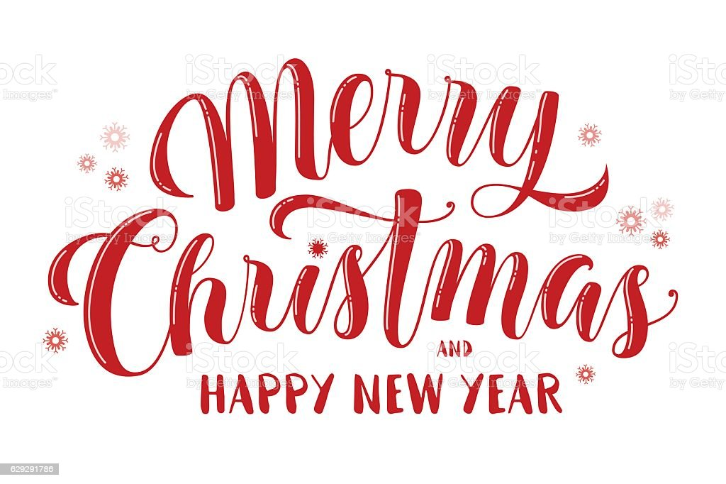 Merry Christmas and Happy New Year text, lettering, greeting vector art illustration