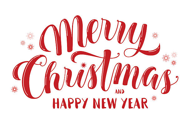 merry christmas and happy new year text, lettering, greeting - weihnachten stock-grafiken, -clipart, -cartoons und -symbole