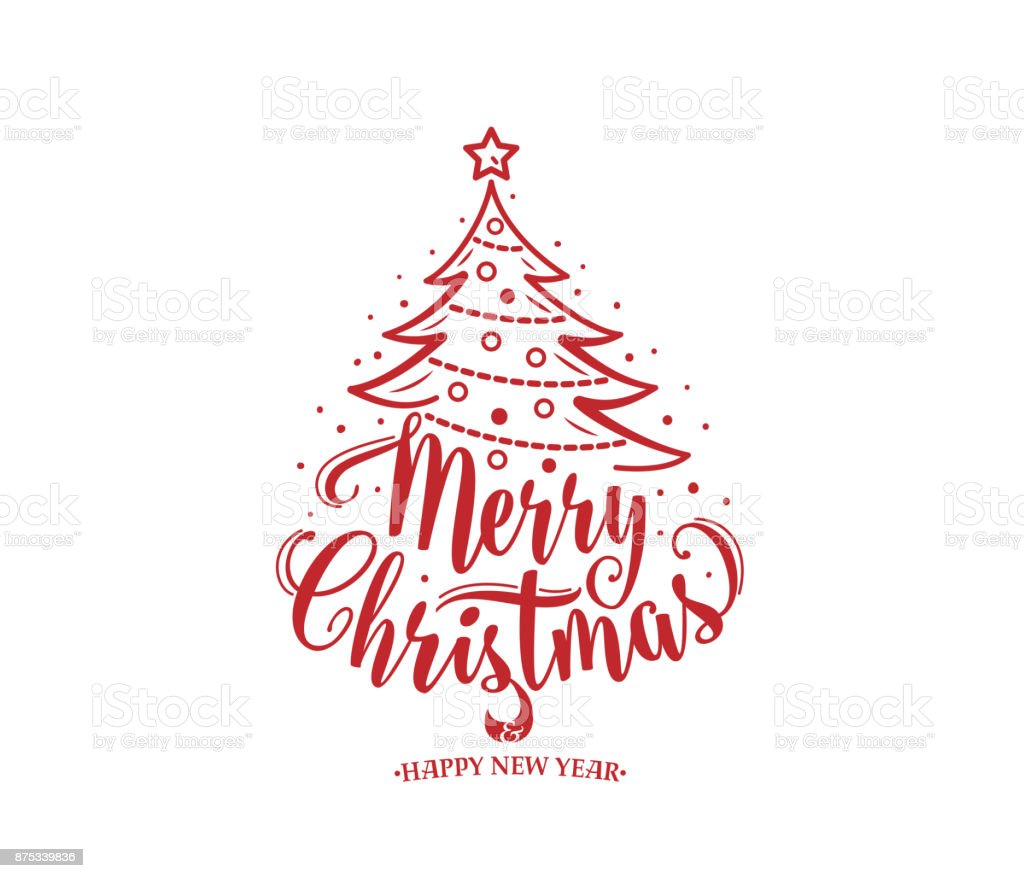 Merry Christmas Text.Merry Christmas And Happy New Year Text Xmas Tree With