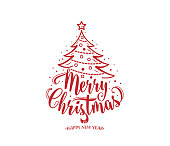 Merry christmas and happy new year text. Xmas tree with decoration, isolated type. Calligraphy lettering design card concept. Vector illustration