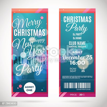 merry christmas and happy new year ticket design vector illustration