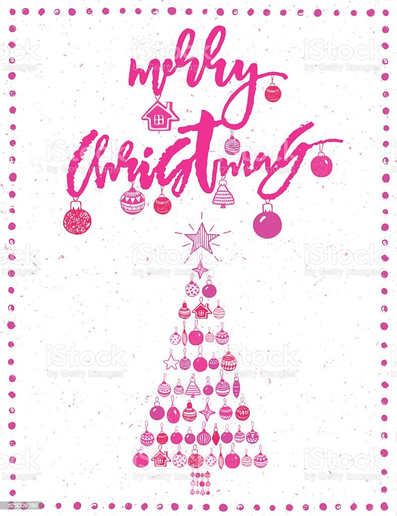 merry christmas and happy new year tree pink bright sparklin royalty free merry christmas